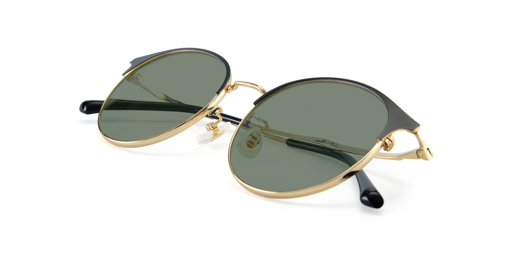 View of XC-8031 in Black-Gold with Medium Green Tinted Lenses