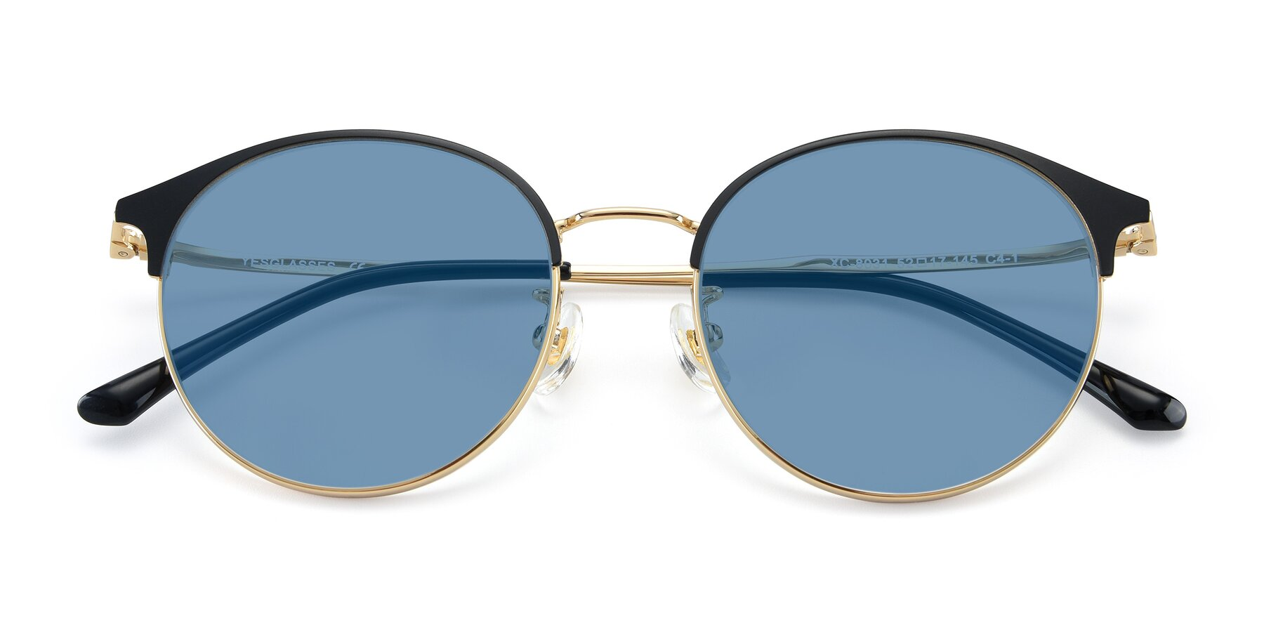 Folded Front of XC-8031 in Black-Gold with Medium Blue Tinted Lenses