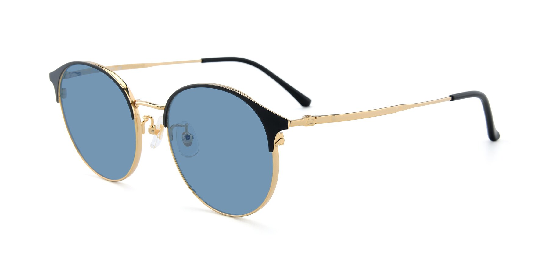 Angle of XC-8031 in Black-Gold with Medium Blue Tinted Lenses