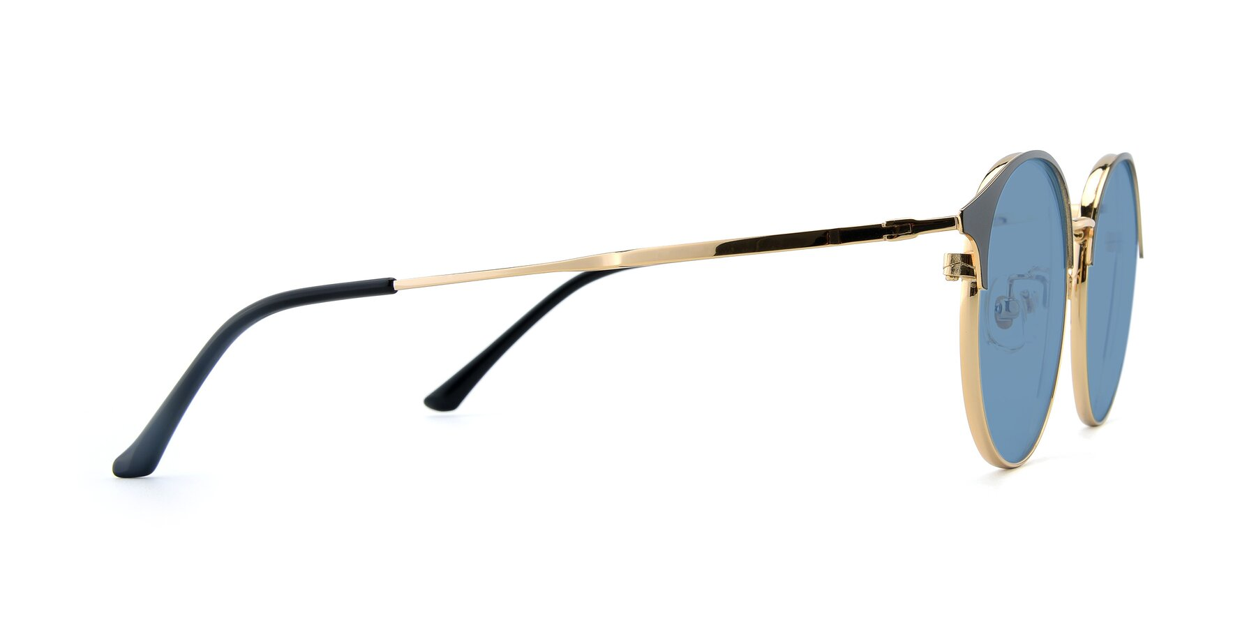 Side of XC-8031 in Black-Gold with Medium Blue Tinted Lenses