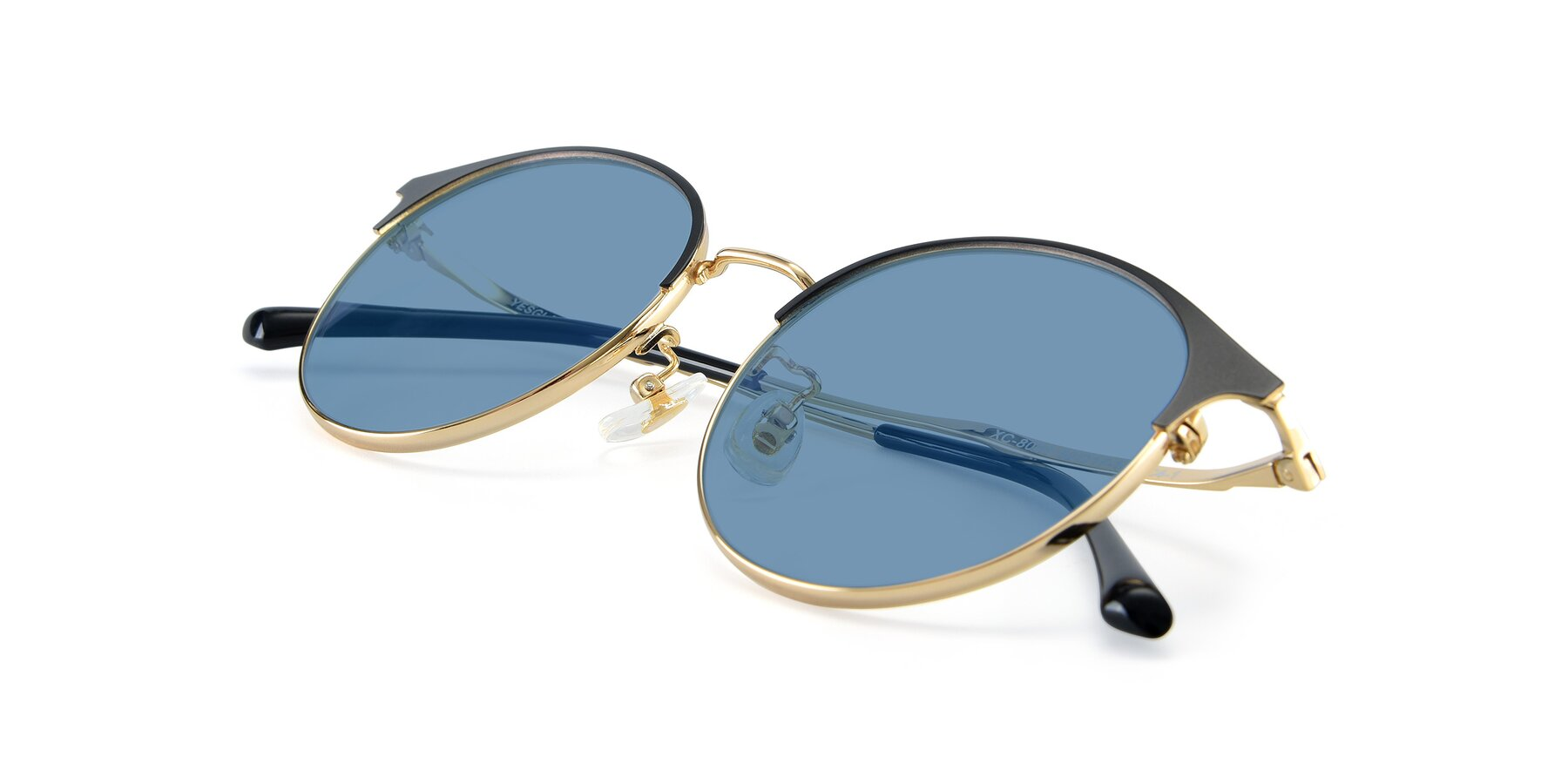 View of XC-8031 in Black-Gold with Medium Blue Tinted Lenses