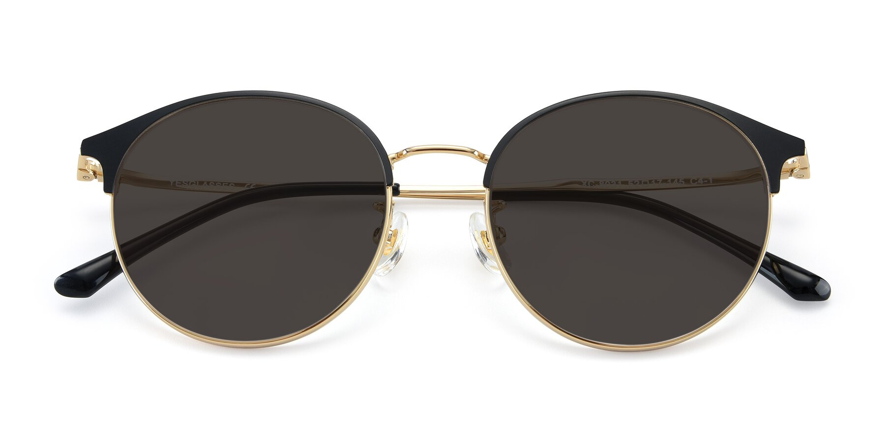 Folded Front of XC-8031 in Black-Gold with Gray Tinted Lenses