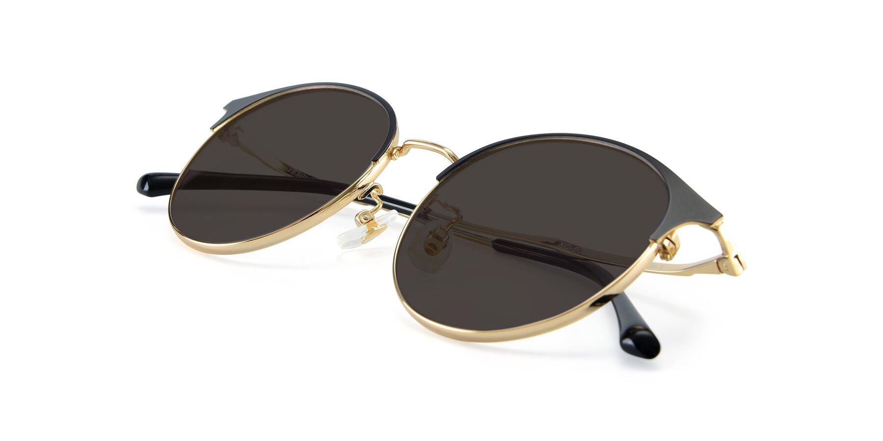 View of XC-8031 in Black-Gold with Gray Tinted Lenses