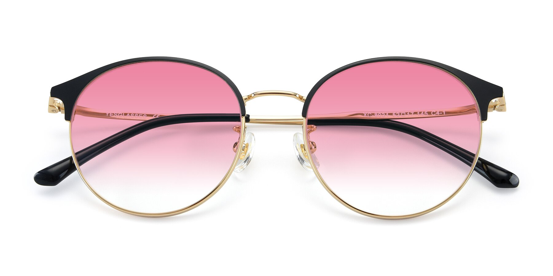 Folded Front of XC-8031 in Black-Gold with Pink Gradient Lenses