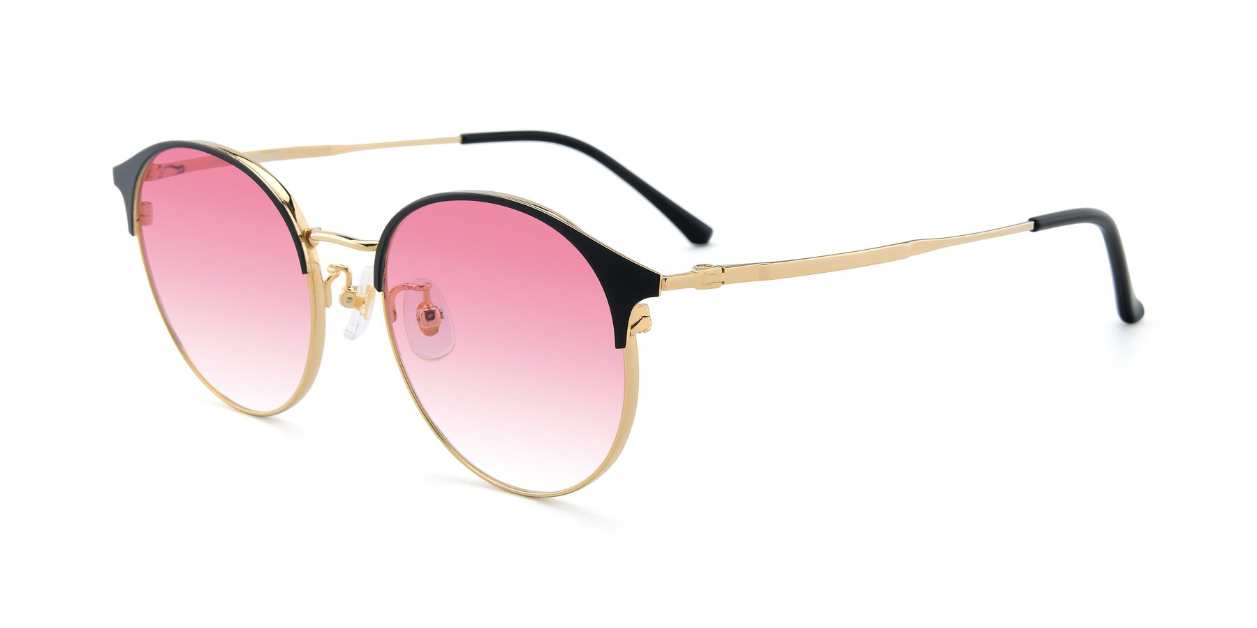 Angle of XC-8031 in Black-Gold with Pink Gradient Lenses