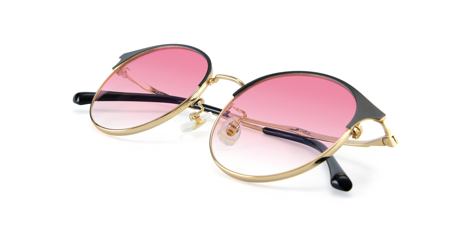 View of XC-8031 in Black-Gold with Pink Gradient Lenses