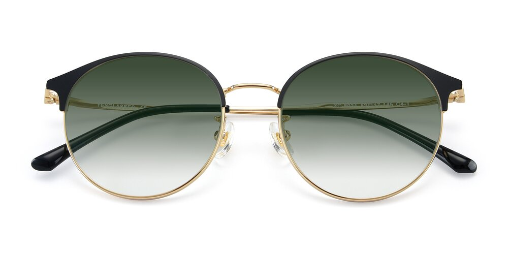 Black-Gold Browline Metal Round Gradient Sunglasses With Green Sunwear Lenses