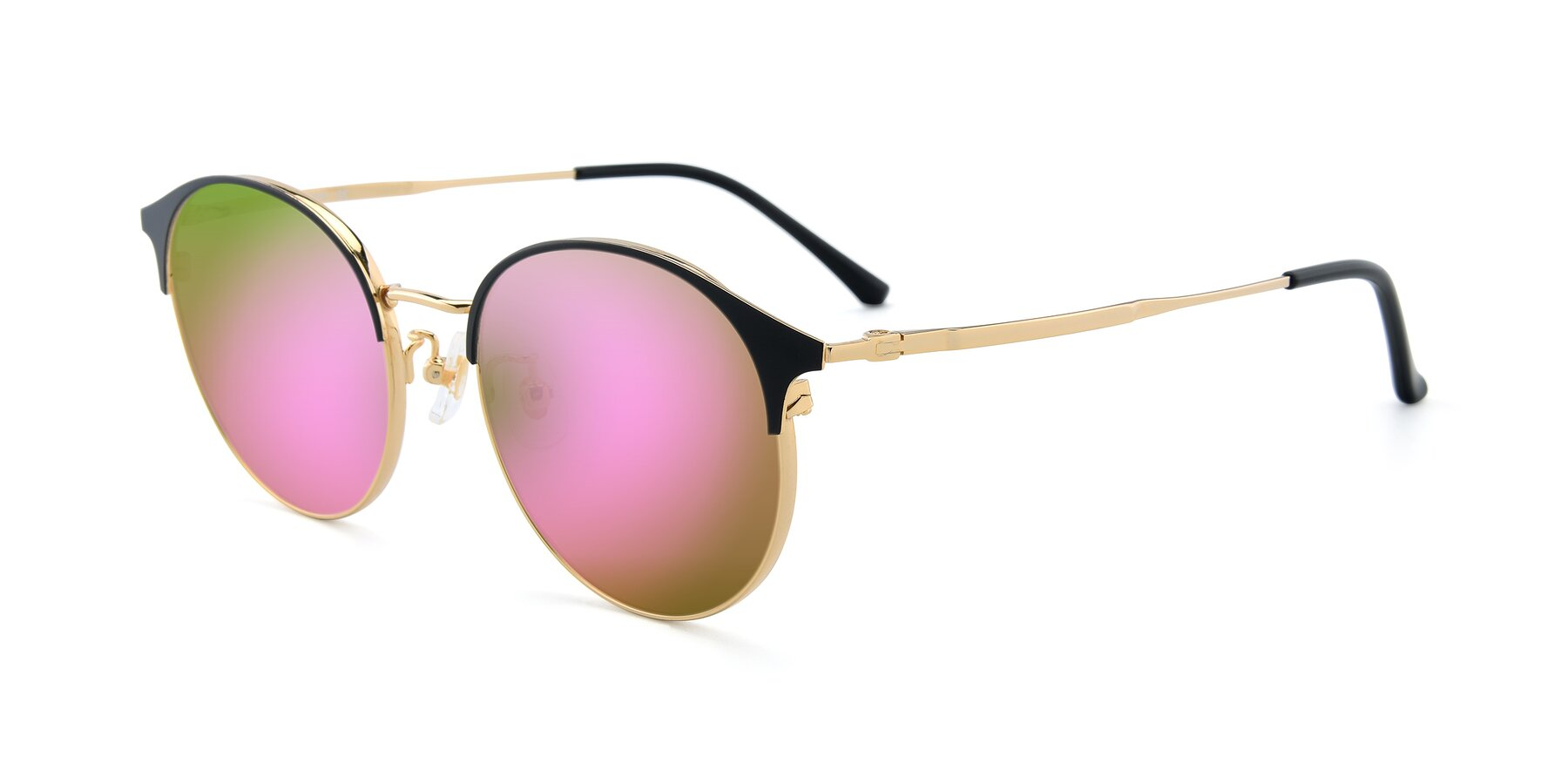 Angle of XC-8031 in Black-Gold with Pink Mirrored Lenses