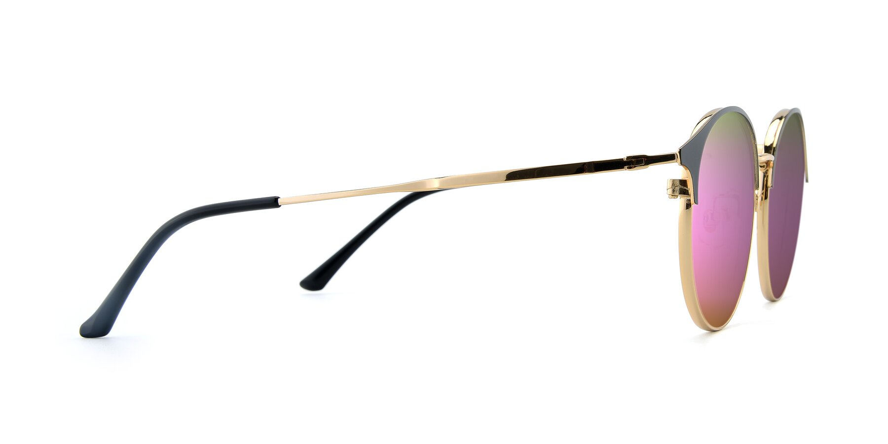 Side of XC-8031 in Black-Gold with Pink Mirrored Lenses