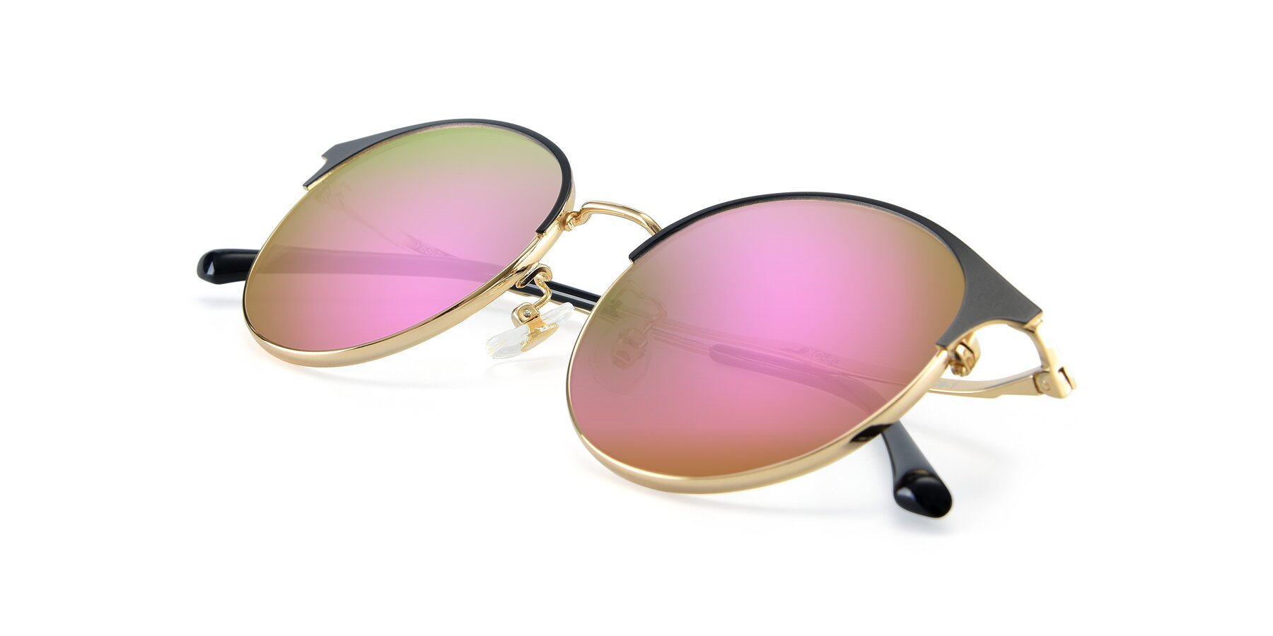 View of XC-8031 in Black-Gold with Pink Mirrored Lenses