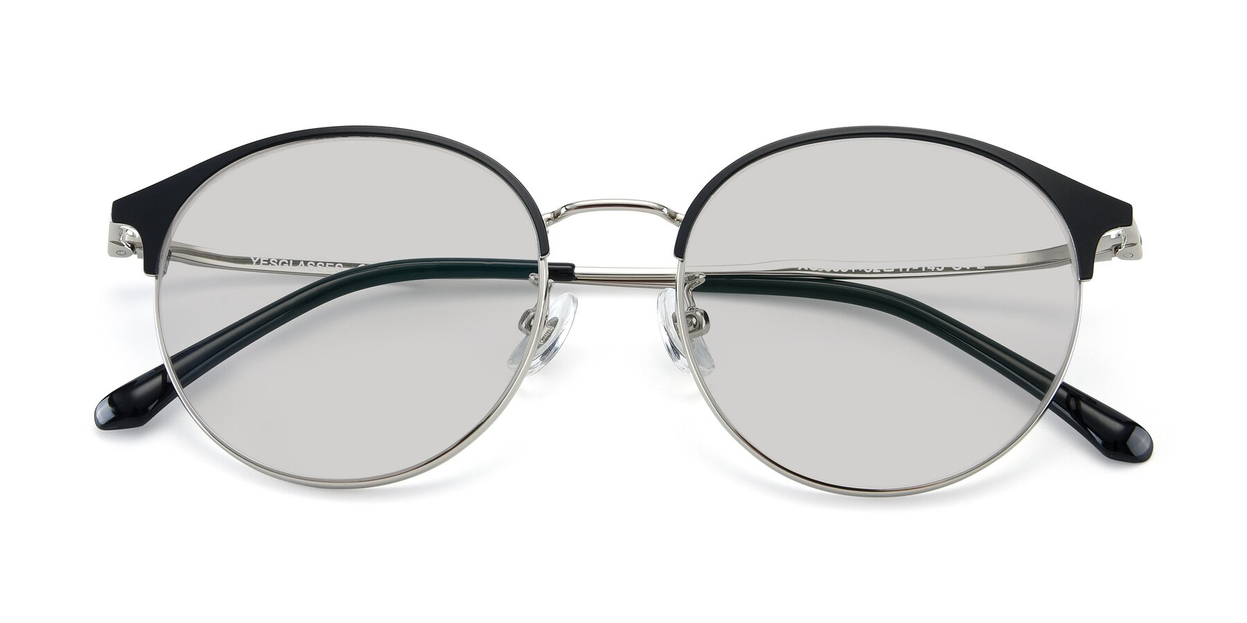 Folded Front of XC-8031 in Black-Silver with Light Gray Tinted Lenses