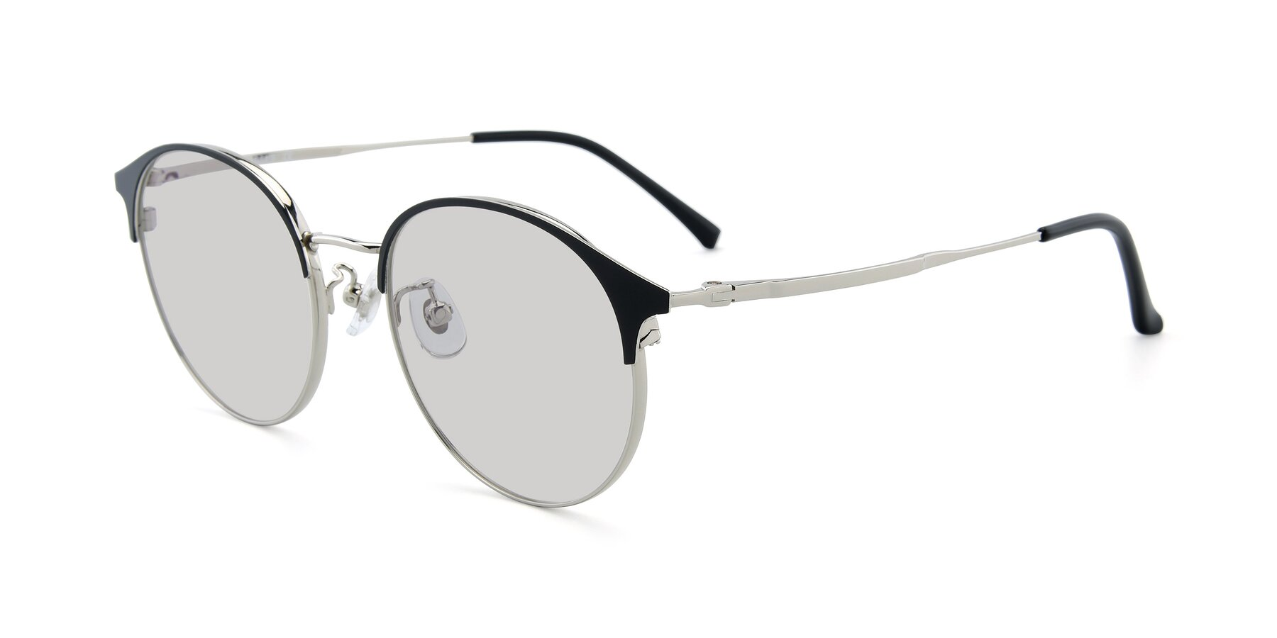 Angle of XC-8031 in Black-Silver with Light Gray Tinted Lenses