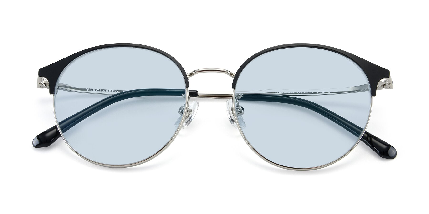 Folded Front of XC-8031 in Black-Silver with Light Blue Tinted Lenses