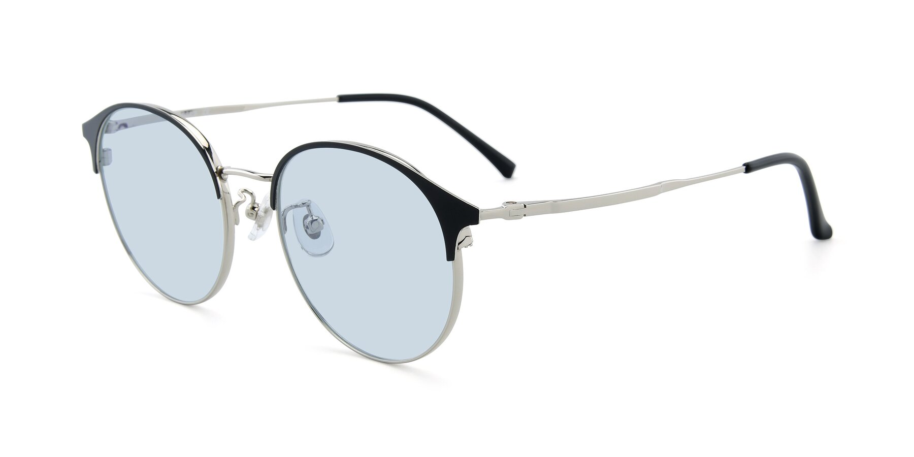 Angle of XC-8031 in Black-Silver with Light Blue Tinted Lenses