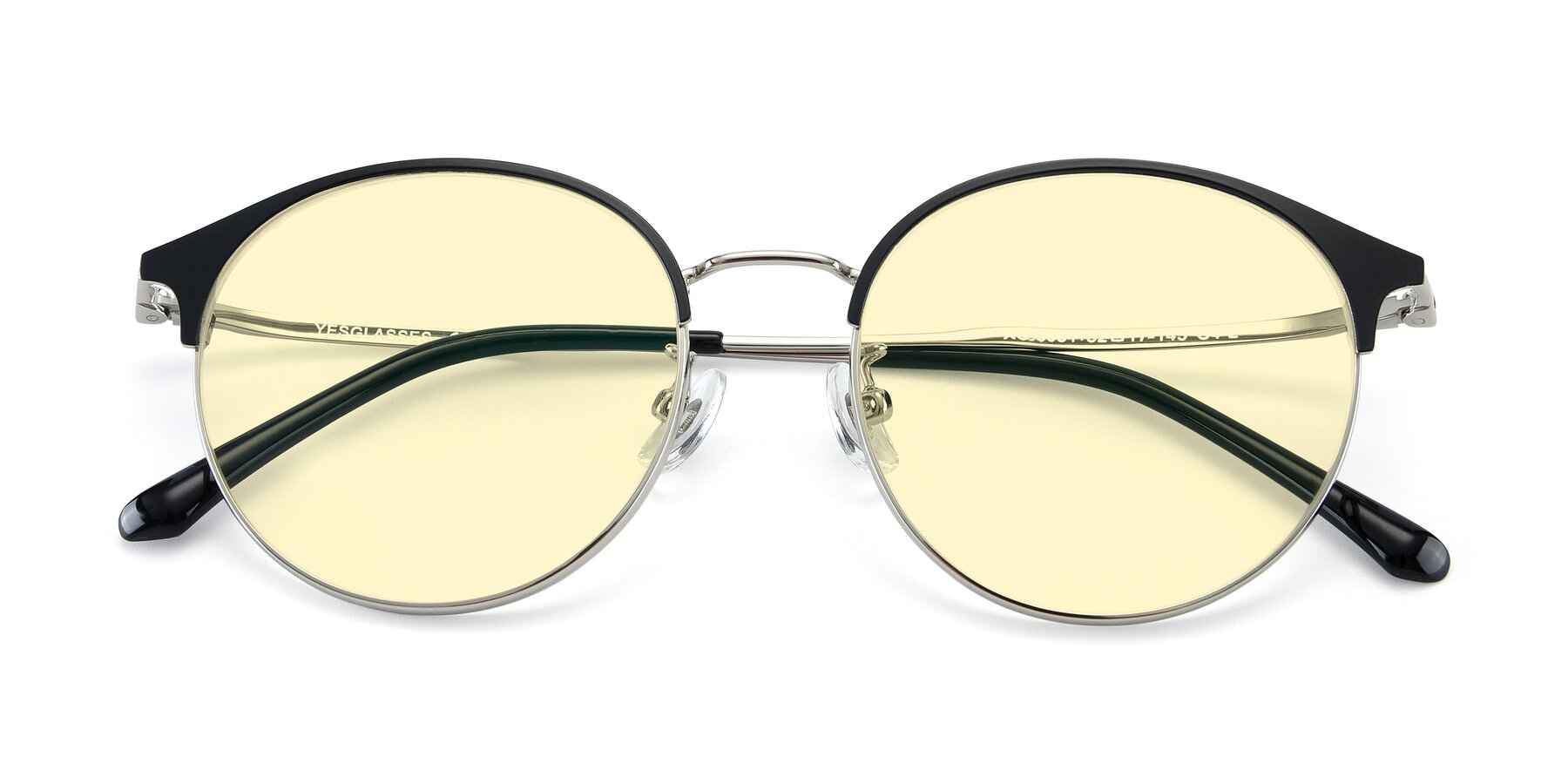 Folded Front of XC-8031 in Black-Silver with Light Yellow Tinted Lenses