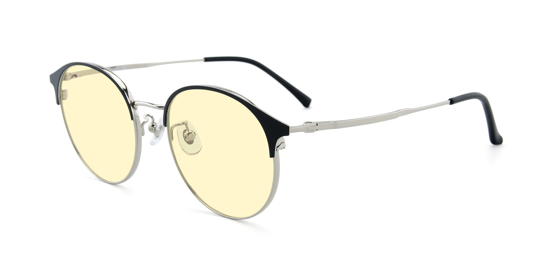Angle of XC-8031 in Black-Silver with Light Yellow Tinted Lenses