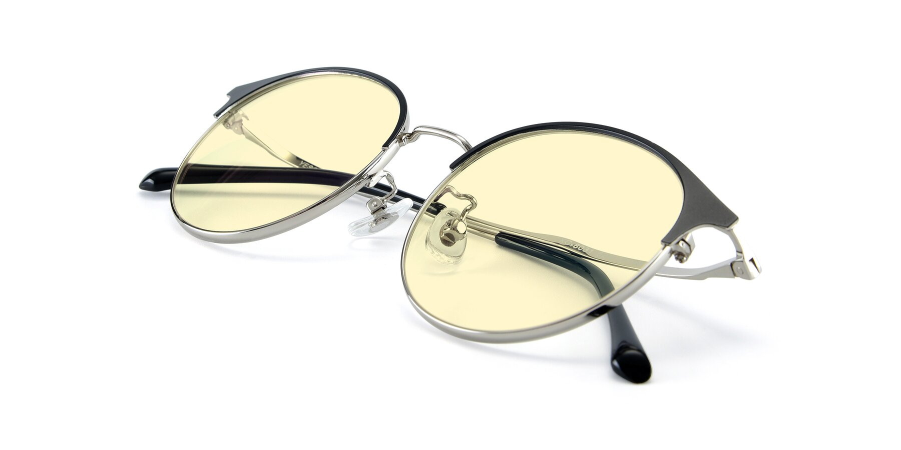 View of XC-8031 in Black-Silver with Light Yellow Tinted Lenses
