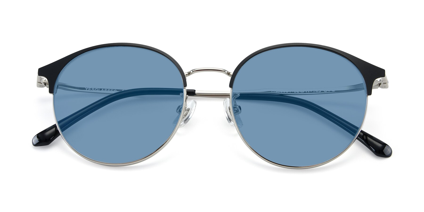 Folded Front of XC-8031 in Black-Silver with Medium Blue Tinted Lenses