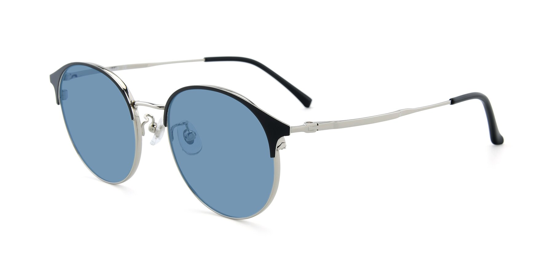 Angle of XC-8031 in Black-Silver with Medium Blue Tinted Lenses