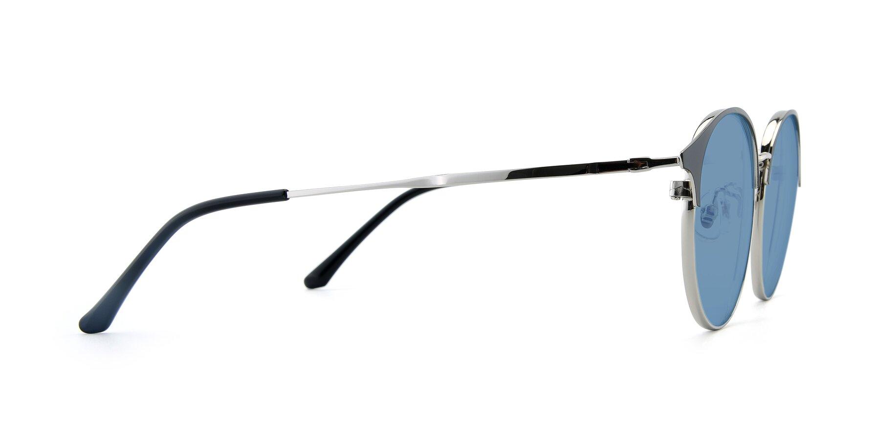 Side of XC-8031 in Black-Silver with Medium Blue Tinted Lenses