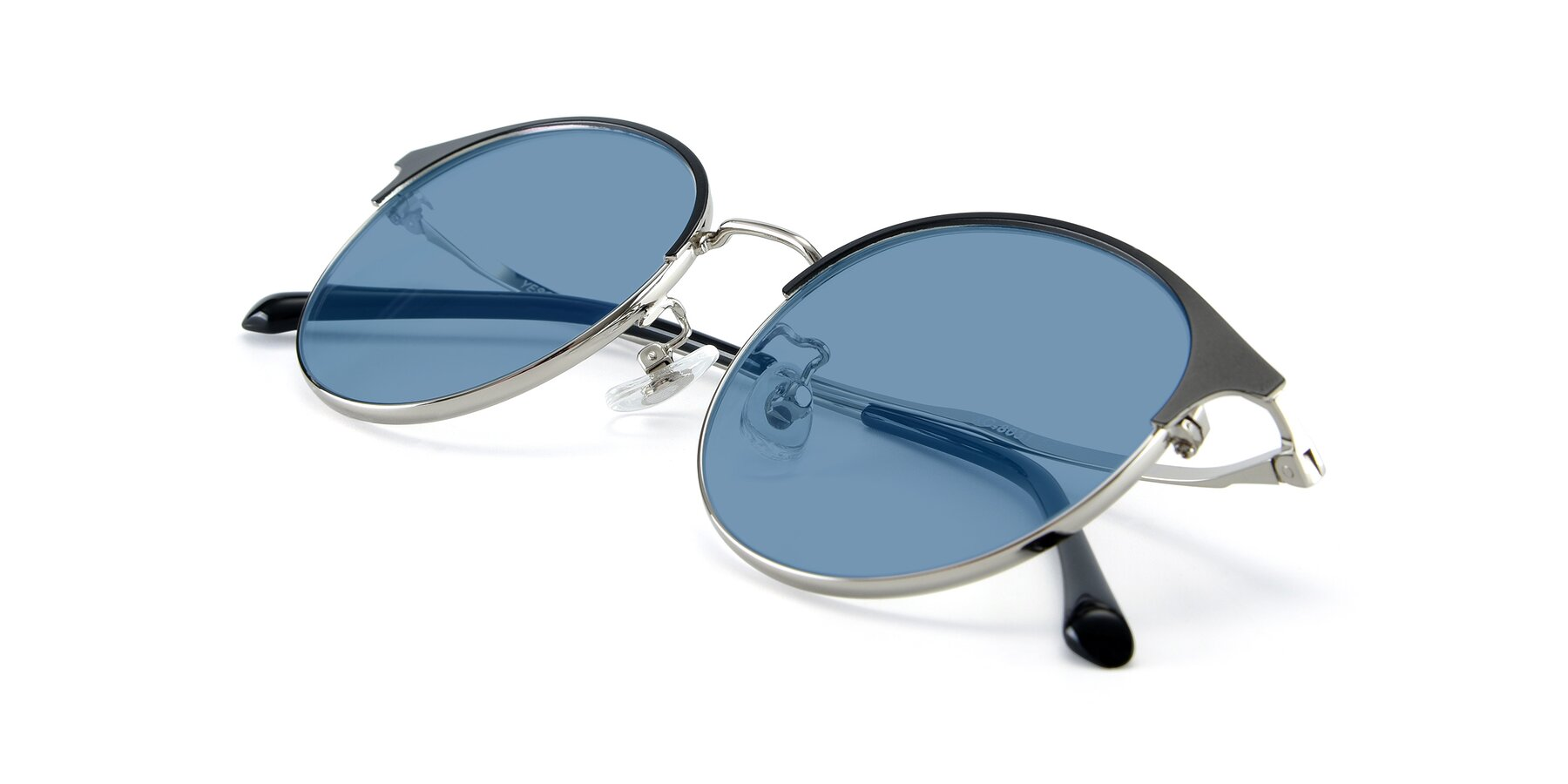 View of XC-8031 in Black-Silver with Medium Blue Tinted Lenses