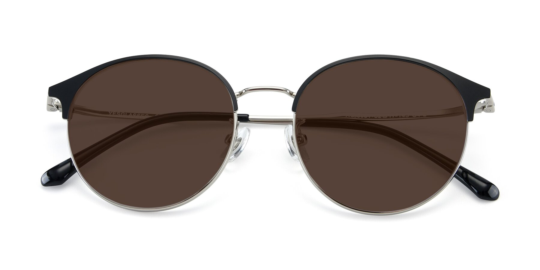 Folded Front of XC-8031 in Black-Silver with Brown Tinted Lenses