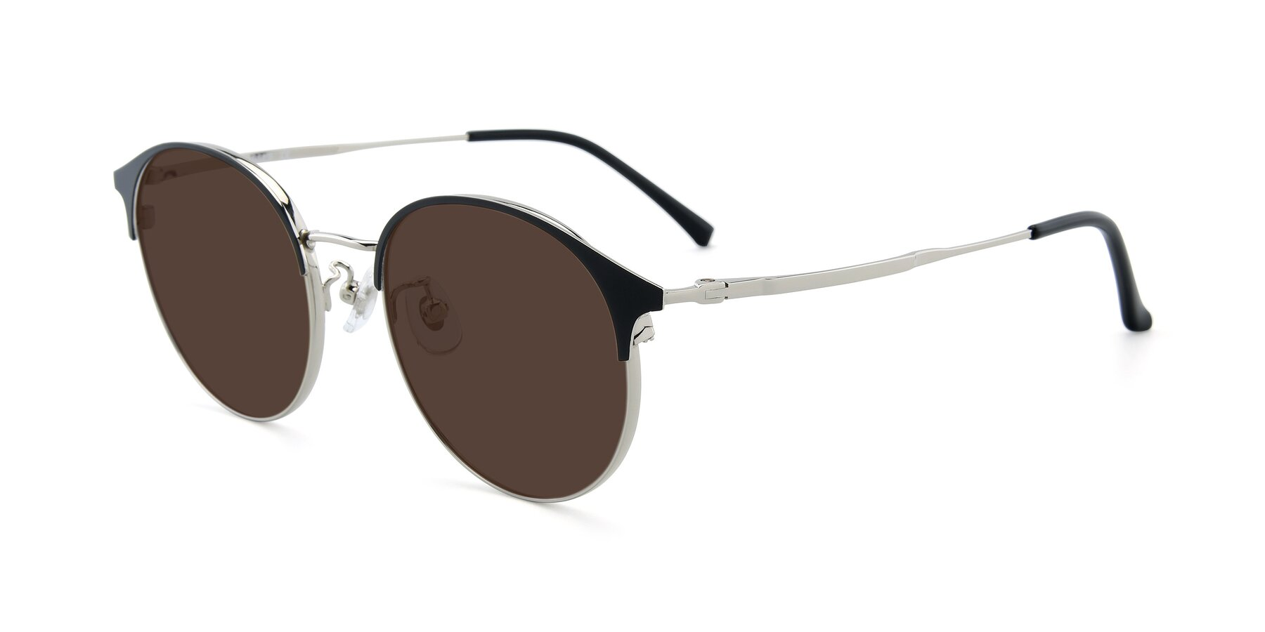 Angle of XC-8031 in Black-Silver with Brown Tinted Lenses