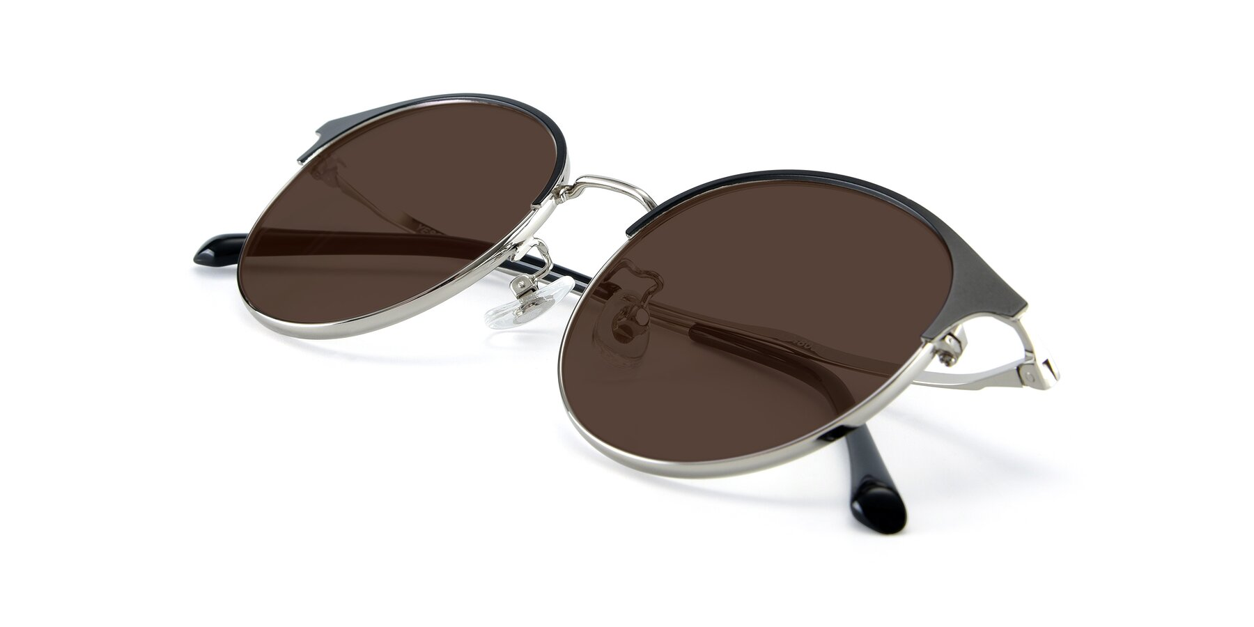 View of XC-8031 in Black-Silver with Brown Tinted Lenses