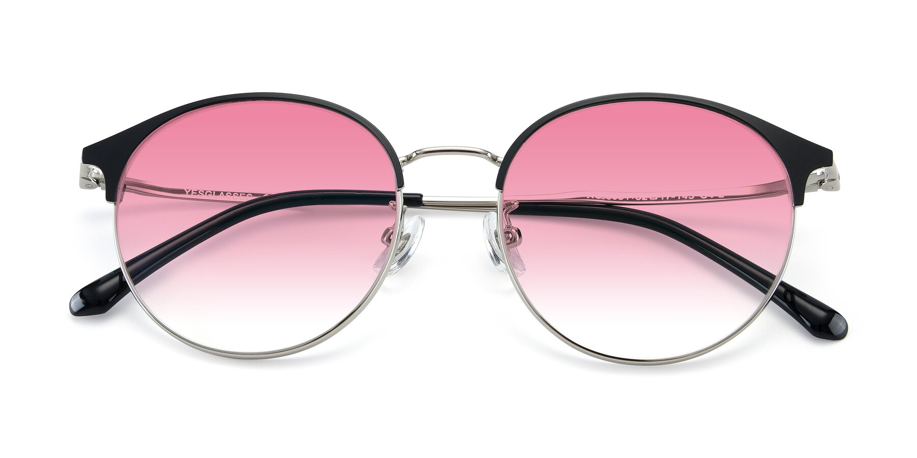 Folded Front of XC-8031 in Black-Silver with Pink Gradient Lenses