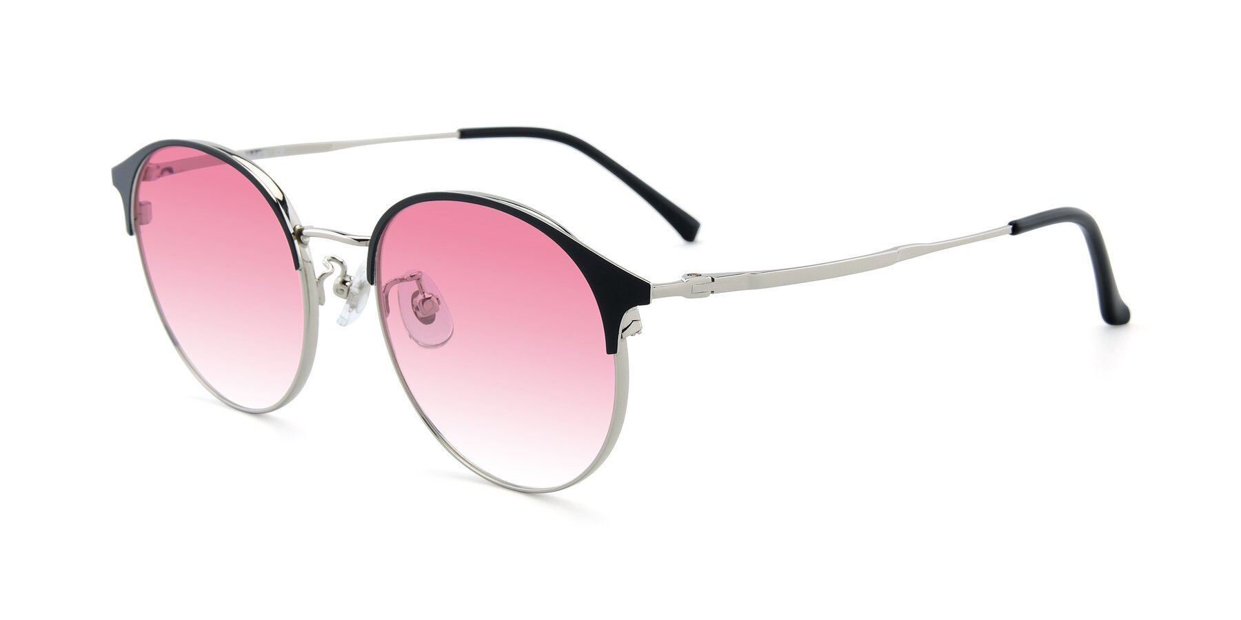 Angle of XC-8031 in Black-Silver with Pink Gradient Lenses
