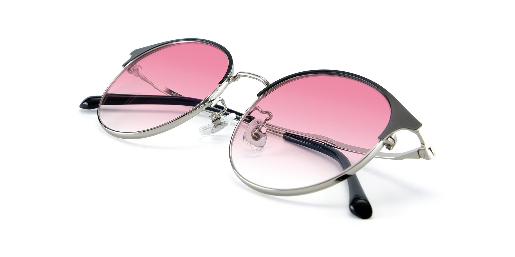 View of XC-8031 in Black-Silver with Pink Gradient Lenses