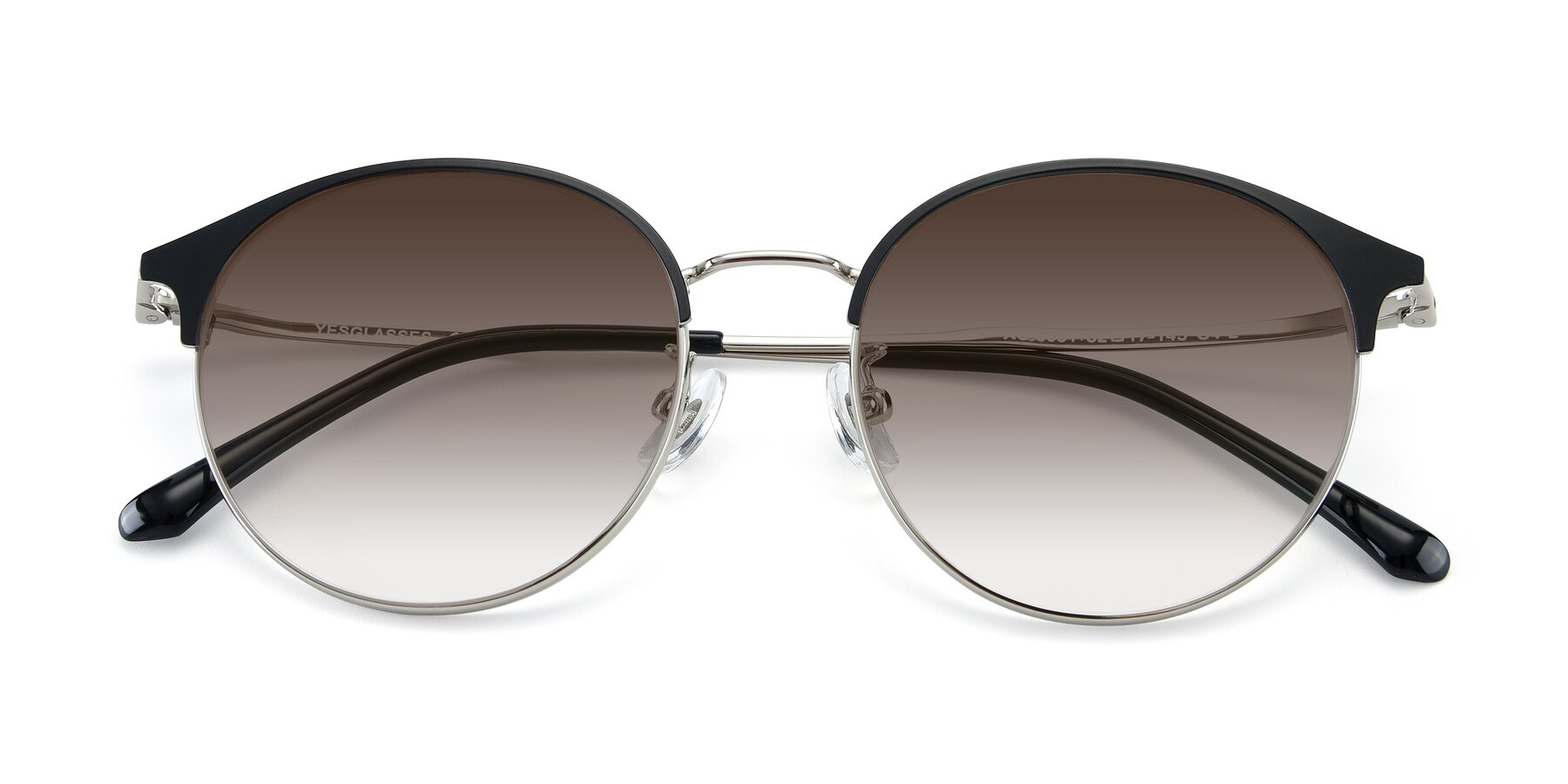 Folded Front of XC-8031 in Black-Silver with Brown Gradient Lenses