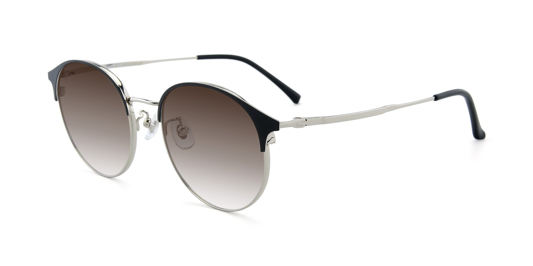 Angle of XC-8031 in Black-Silver with Brown Gradient Lenses