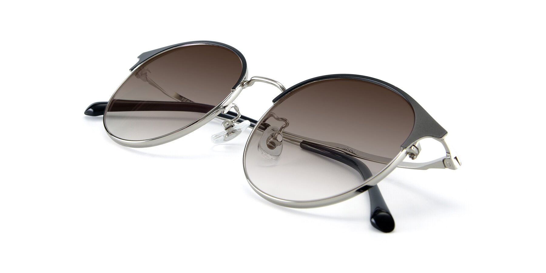 View of XC-8031 in Black-Silver with Brown Gradient Lenses