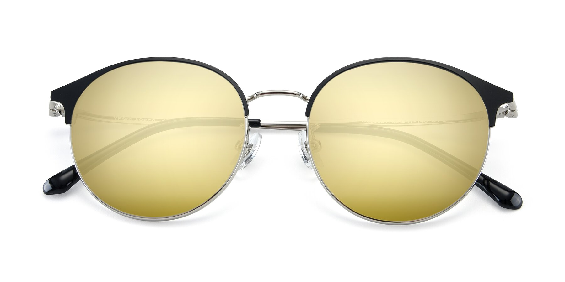 Folded Front of XC-8031 in Black-Silver with Gold Mirrored Lenses