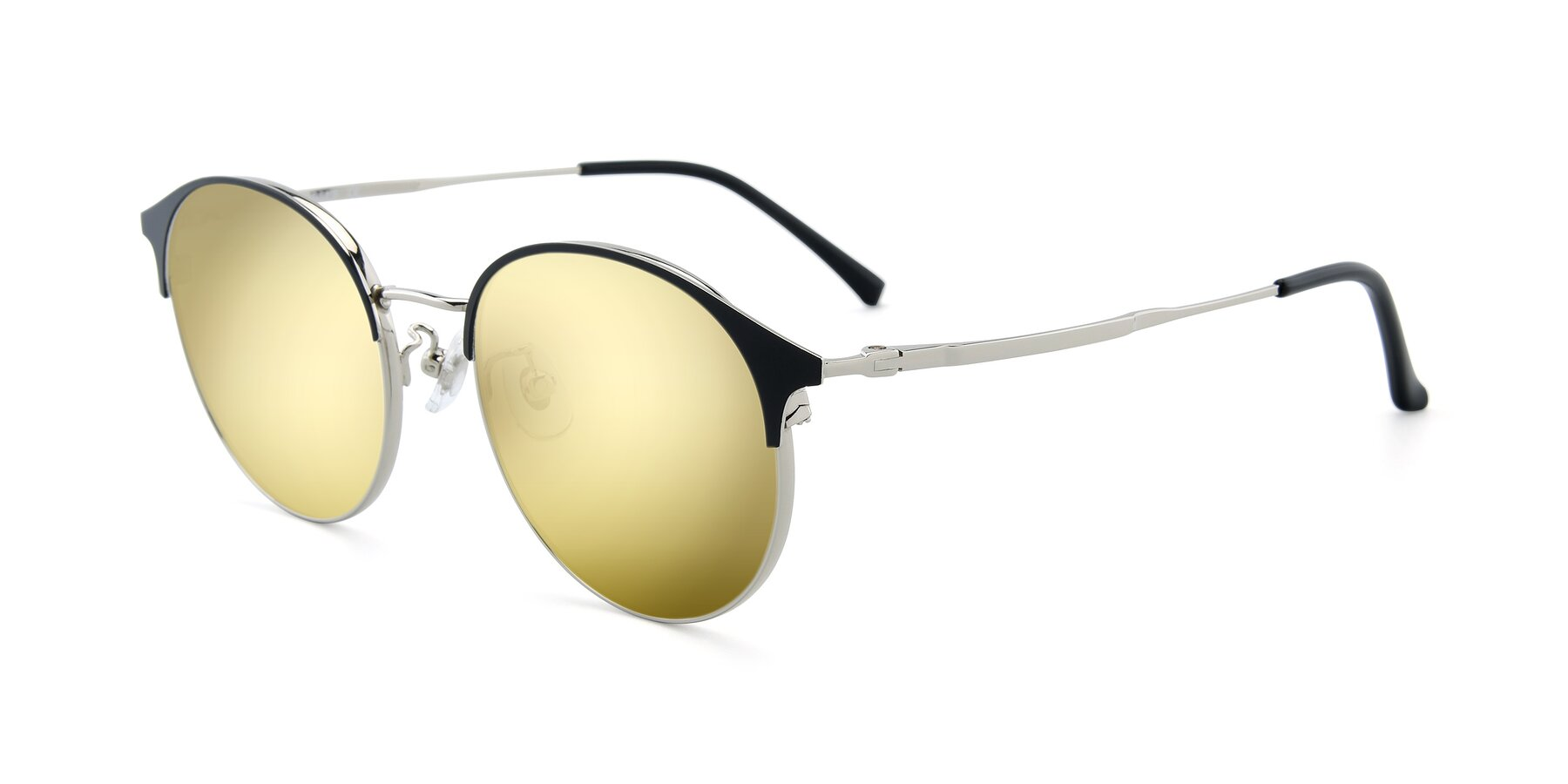 Angle of XC-8031 in Black-Silver with Gold Mirrored Lenses