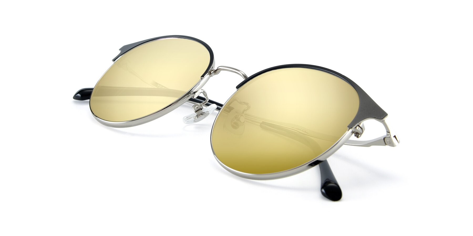View of XC-8031 in Black-Silver with Gold Mirrored Lenses