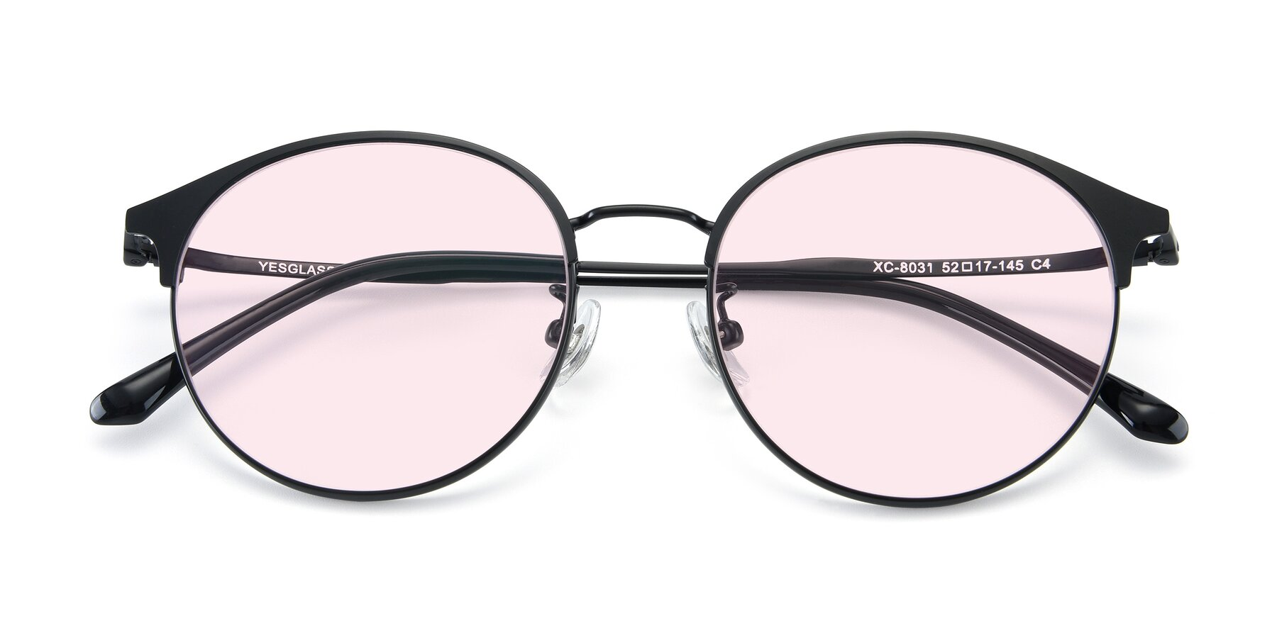 Folded Front of XC-8031 in Matte Black with Light Pink Tinted Lenses