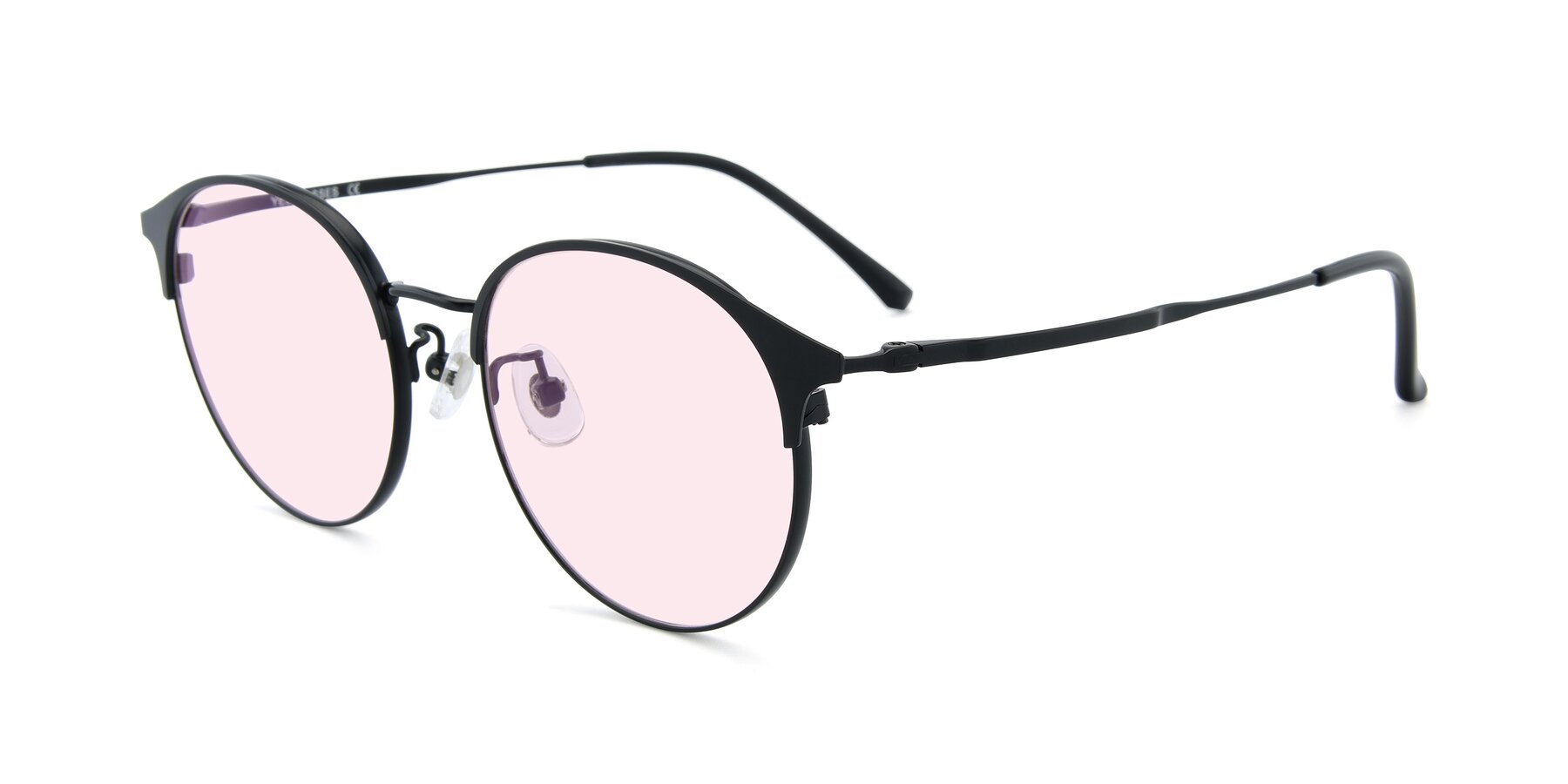 Angle of XC-8031 in Matte Black with Light Pink Tinted Lenses