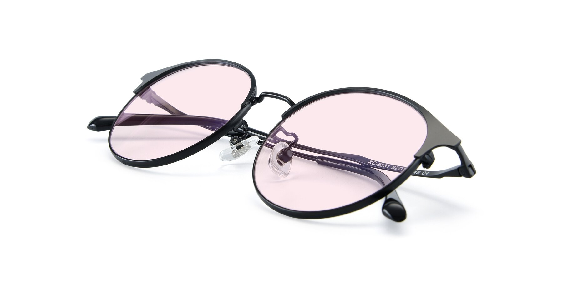 View of XC-8031 in Matte Black with Light Pink Tinted Lenses