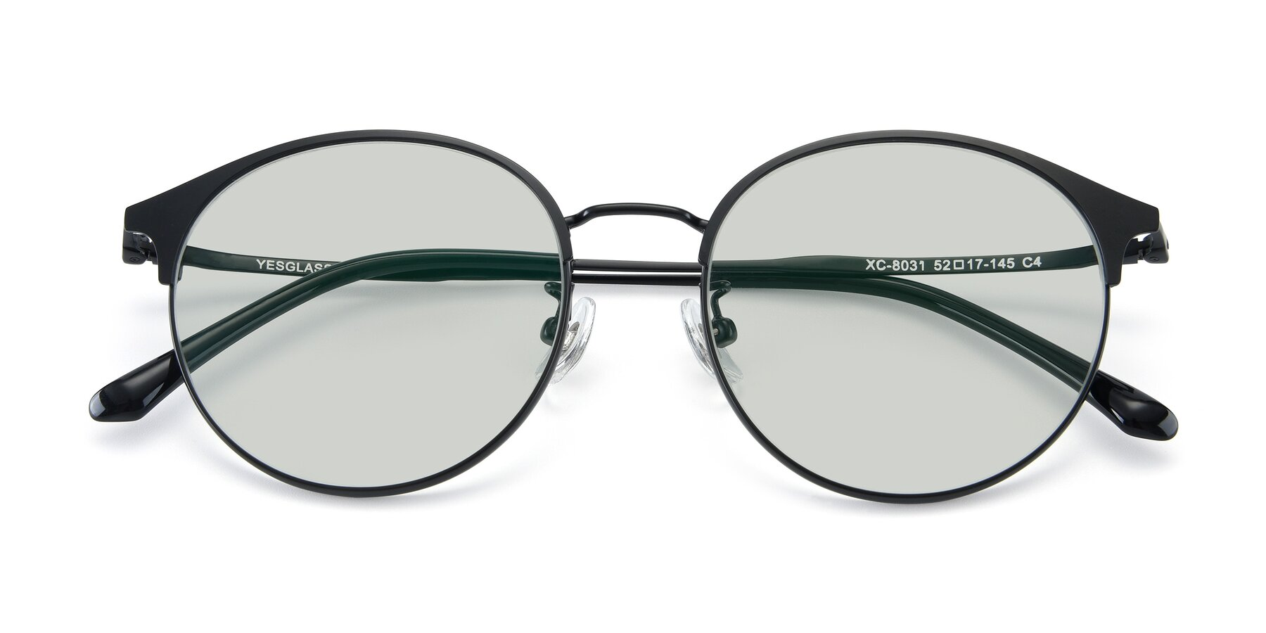 Folded Front of XC-8031 in Matte Black with Light Green Tinted Lenses