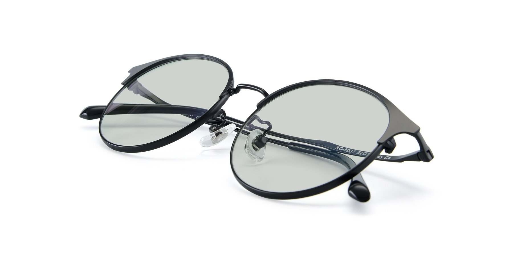 View of XC-8031 in Matte Black with Light Green Tinted Lenses