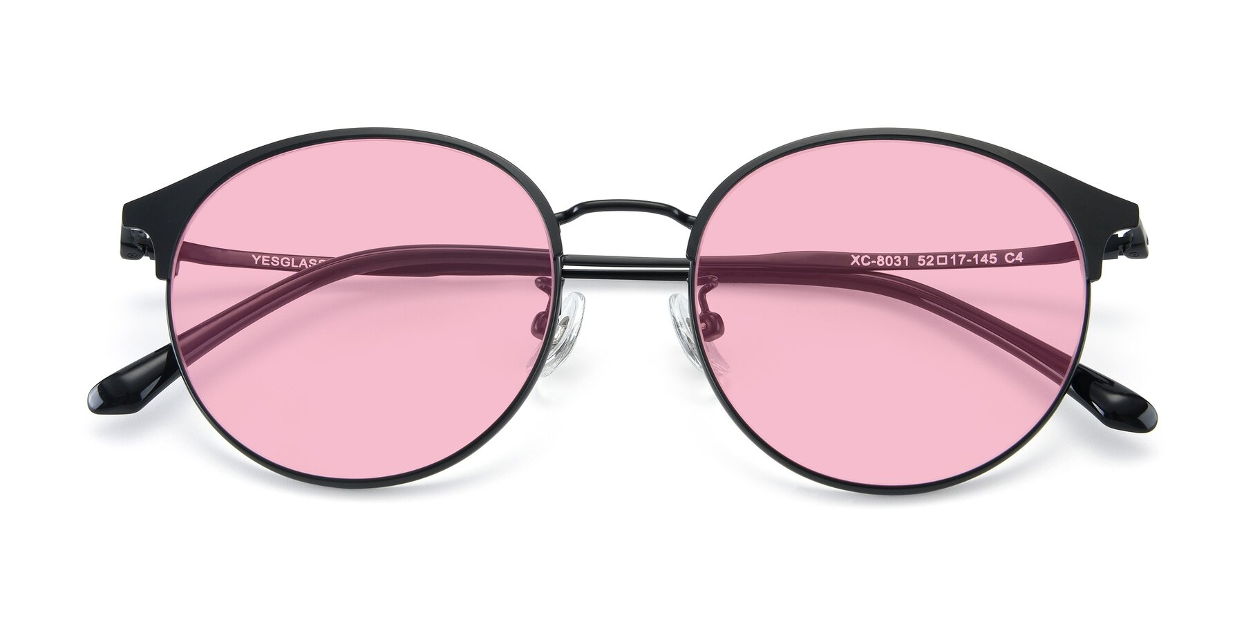 Folded Front of XC-8031 in Matte Black with Medium Pink Tinted Lenses