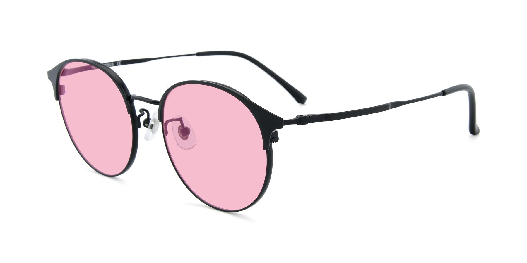 Angle of XC-8031 in Matte Black with Medium Pink Tinted Lenses