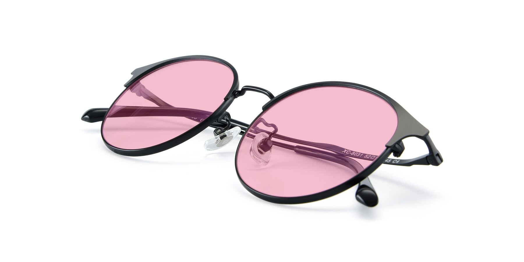 View of XC-8031 in Matte Black with Medium Pink Tinted Lenses