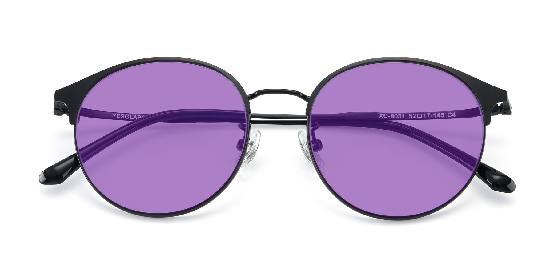 Folded Front of XC-8031 in Matte Black with Medium Purple Tinted Lenses