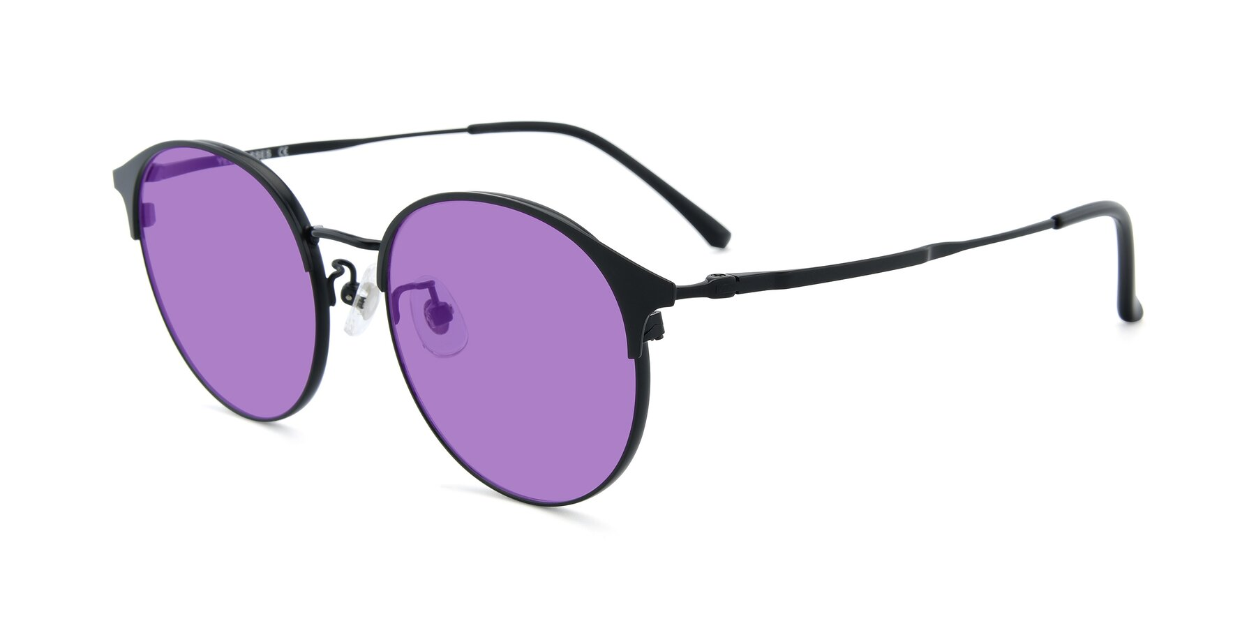 Angle of XC-8031 in Matte Black with Medium Purple Tinted Lenses