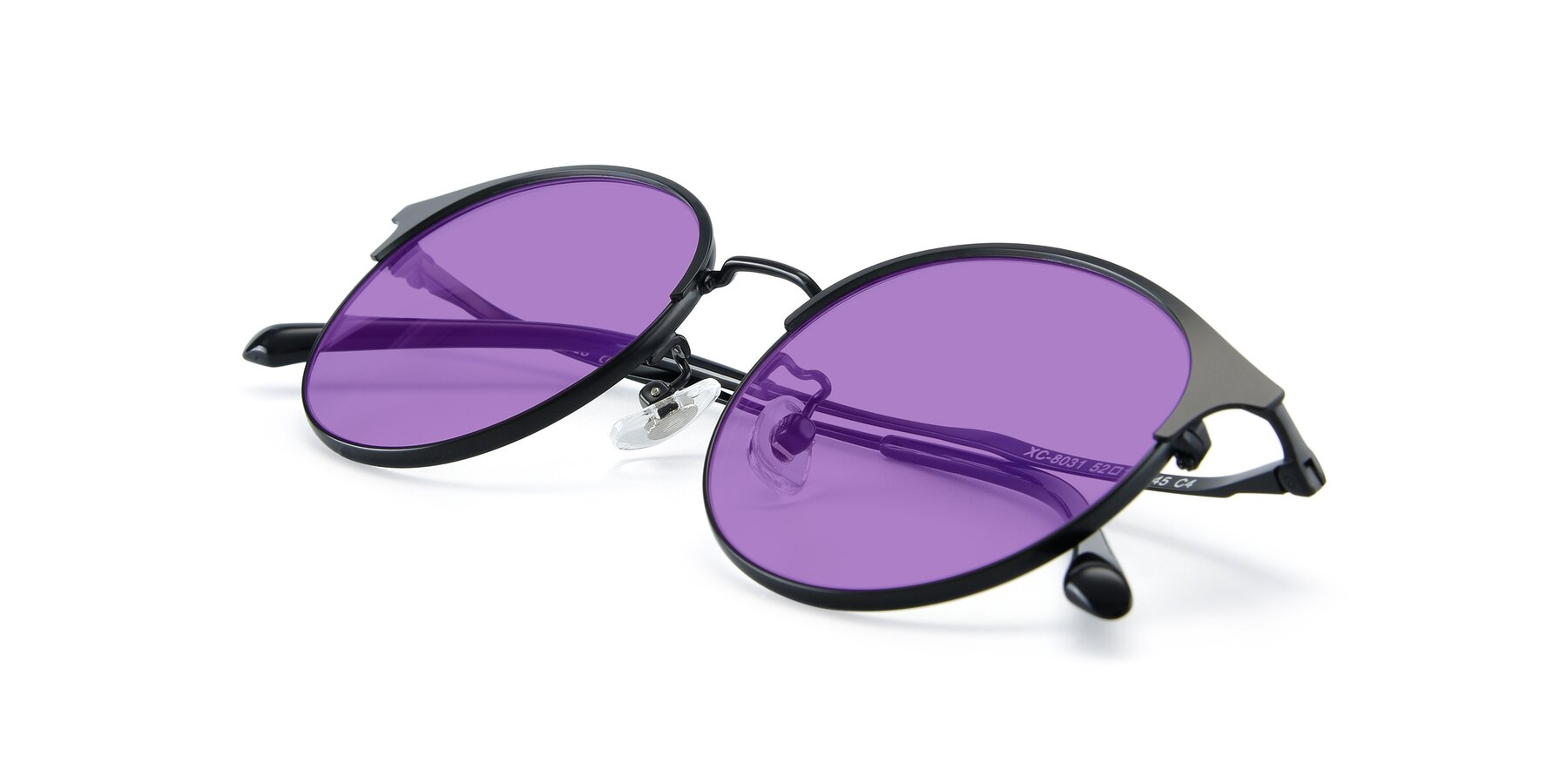 View of XC-8031 in Matte Black with Medium Purple Tinted Lenses
