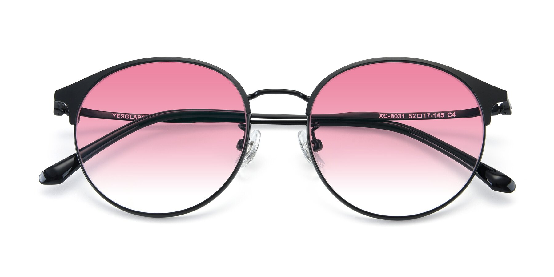Folded Front of XC-8031 in Matte Black with Pink Gradient Lenses