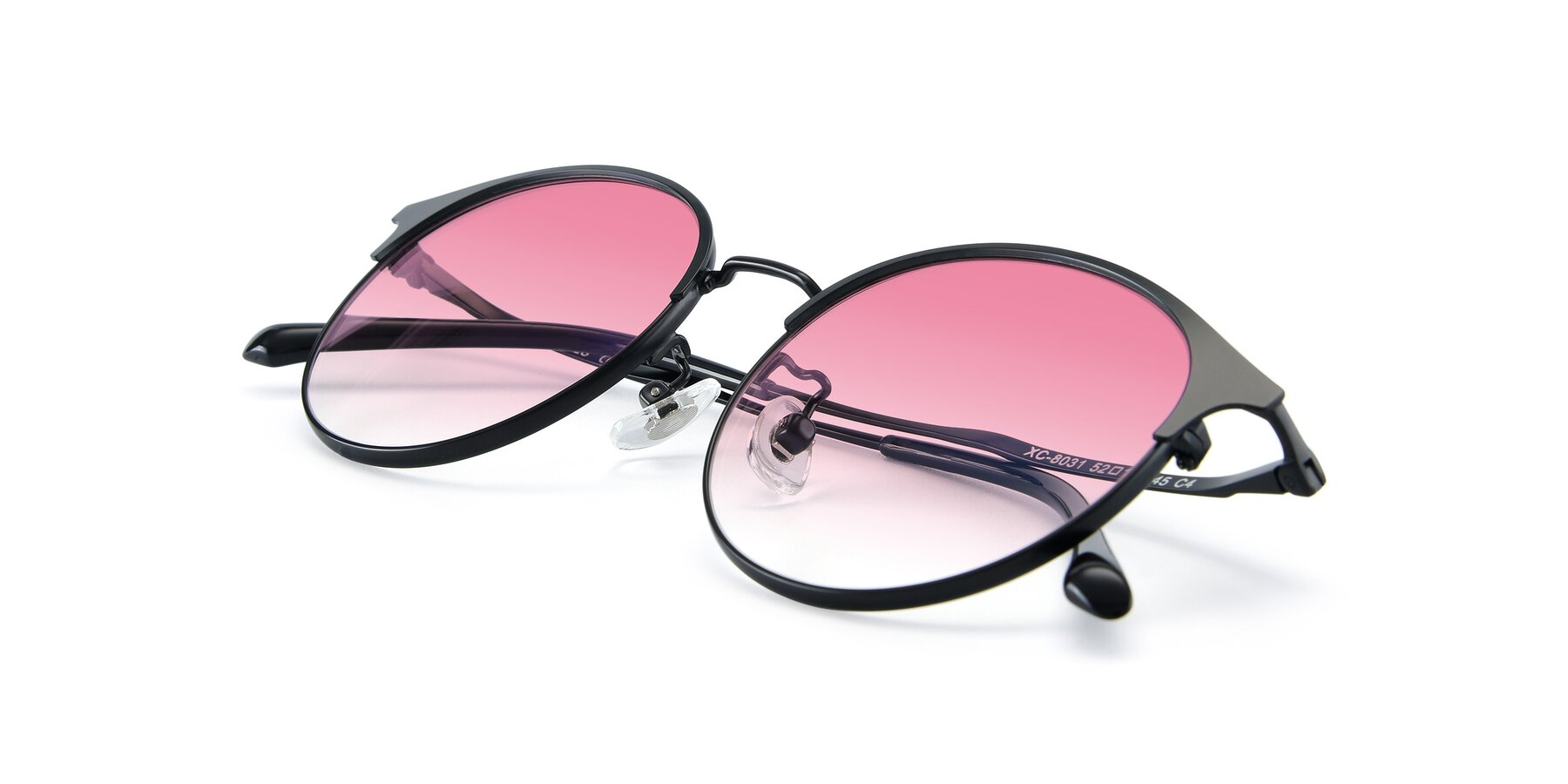 View of XC-8031 in Matte Black with Pink Gradient Lenses